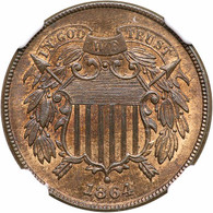 1864 Two Cent, Large Motto. NGC MS65 Red Brown