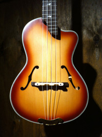 Archtop Cutaway Body F-hole Tenor Ukulele Flamed Maple Bird Inlay Arch Top uke
