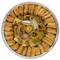 Assorted Baklava pieces arranged beautifully on a circular tray - Top view - Libanais Sweets