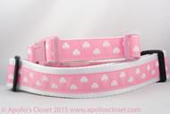 "Pink Shamrock 1 or 1.5"" wide Dog Collar"