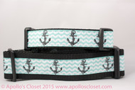"Anchors on Aqua Dog Collar 1 or 1.5"" wide"