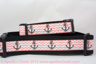 "Anchors on Coral Dog Collar 1 or 1.5"" wide"