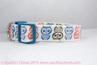 "Owls 1"", 1.5"", or 2"" wide Dog Collar"