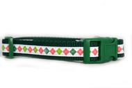 Holiday Argyle dog collar