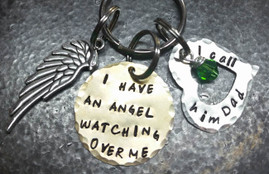 Hand Stamped Jewelry - I Have An Angel Brass Key Chain