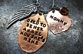 I Used To Be Her Angel Copper Oval w/ Copper Solid Heart