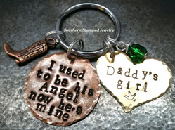 I Used To Be His Angel Copper Circle w/ Brass Heart Key Chain
