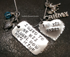 I Used To Be His Angel Silver Dog Tag w/ Solid Silver Heart