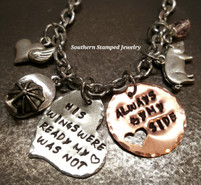 His Wings Were Ready Silver Funky heart w/ Copper Circle Cut Out Heart Rear View