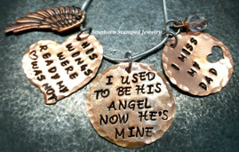 I Used To Be His Angel All Copper Circle, His Wings Were Ready Heart, And Copper Circle Cut Out Heart