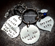 His Wings Were Ready Silver Funky Heart w/ Silver Circle And Silver Solid Heart Key Chain