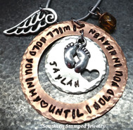 I Will Hold You Copper Washer w/ Silver Circle w/ Cut Out Heart