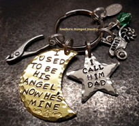 I Used To Be His Angel Brass Moon w/ Silver Star Key Chain