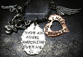 I Have An Angel Silver Oval w/ Copper Open Heart Rear View