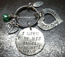 I Used To Be His Angel Silver Circle w/ Open Silver Heart Key Chain