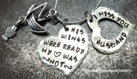 His Wings Were Ready Silver Heart w/ Silver Open Heart