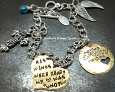 His Wings Were Ready Brass Heart w/ Brass Circle Cut Out Heart Bracelet