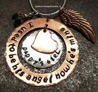 I Used To Be His Angel Copper Washer w/ Silver Circle and Copper Heart Hung In The Center