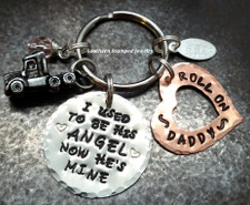 I Used To Be His Angel Silver Circle w/ Open Copper Heart Roll On Daddy Key Chain