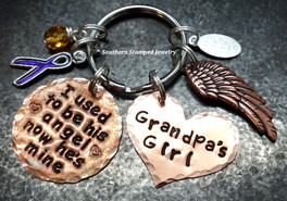 I Used To Be His Angel Copper Circle w/ Copper Solid Heart Key Chain