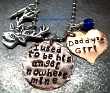 I Used To Be His Angel Copper Circle w/ Solid Copper Heart Rear View