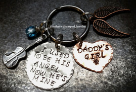 I Used To Be His Angel Silver Circle w/ Copper Solid Heart Key Chain