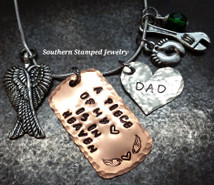 A Piece Of My Heart Copper Dog Tag w/ Silver Solid Heart