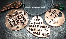 I Used To Be Her Angel Copper Circle w/ Circle Cut Out Heart and Her Wings Funky Heart