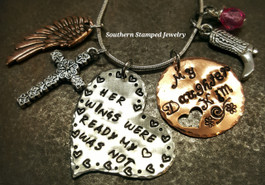Her Wings Were Ready Silver Funky Heart w/ Copper Circle Cut Out Heart