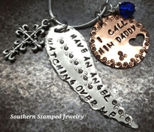 I Have An Angel Silver Wing w/ Copper Circle Cut Out Heart