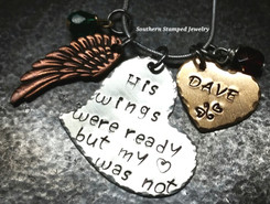 His Wings Were Ready Silver Heart w/ Bronze Solid Heart