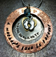 A Mother's Love Is Forever Copper Washer w/ Silver Circle and Tiny Brass Heart