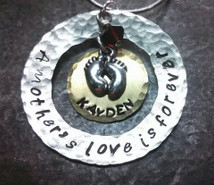 A Mother's Love Is Forever Silver Washer w/ Brass Circle