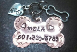 Copper Pet Tag w/ 2 Charms