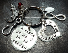 A Piece Of My Heart Silver Circle w/ Silver Open Heart Key Chain