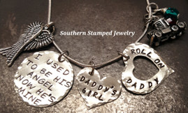 I Used To Be His Angel Silver Circle w/ Solid Silver Heart and Silver Open Heart Roll On Daddy