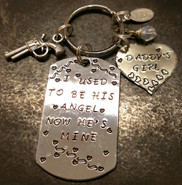 I Used To Be His Angel Silver Dog Tag w/ Solid Silver Heart Key Chain