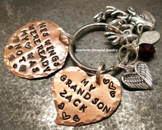 His Wings Were Ready Copper Circle w/ Solid Copper Heart Key Chain