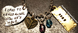 I Used To Be His Angel Funky Silver Heart w/ Brass Tag