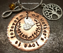 A Mother's Love Is Forever Copper Washer w/ Copper Circle In The Center