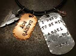 I Used To Be His Angel Large Silver Dog Tag w/ Small Copper Dog Tag Men's Necklace Leather Cord
