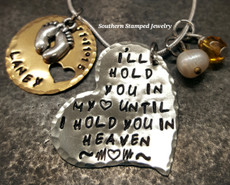 I'll Hold You Silver Funky Heart w/ Brass Circle Cut Out Heart