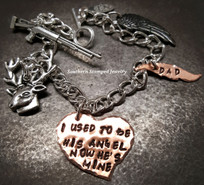 I Used To Be His Angel Funky Copper Heart w/ Copper Feather Bracelet
