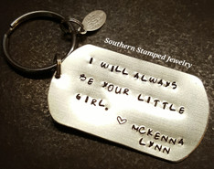 I Will Always Be Your Little Girl Large Silver Dog Tag Key Chain