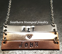 3 Layer Silver, Bronze, and Copper Bar Necklace