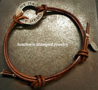 My Dad My Hero Silver Washer Leather Adjustable Bracelet