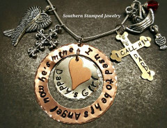 I Used To Be His Angel Copper Washer w/ Silver Circle, Tiny Copper Heart, and Brass Cross