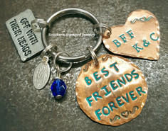 Best Friends Forever Copper Circle w/ Copper Funky Heart Key Chain Turquoise Lettering