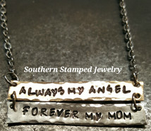 Always My Angel Forever My Mom Bronze and Silver Bar Necklace