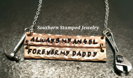 Always My Angel Copper And Bronze Bar Necklace w/ 2 Charms